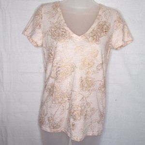 Merona Floral Rose Gold  V Neck T Shirt